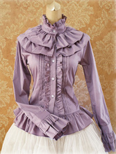 Sweet Cotton Lolita Blouse Long Sleeves Ruffles Stand Collar blouse 0800500 49
