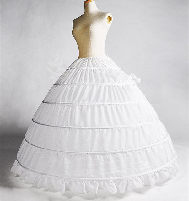 Vintage Ball Gown 6 Hoops Petticoats For Wedding Dress White Petticoat Crinoline Slip Underskirt Girl
