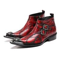 Botas masculinasบุรุษยางรองเท้าฝนสีแดงข้อเท้าเชลซีรองเท้าผู้ชายเหล็กนิ้ว