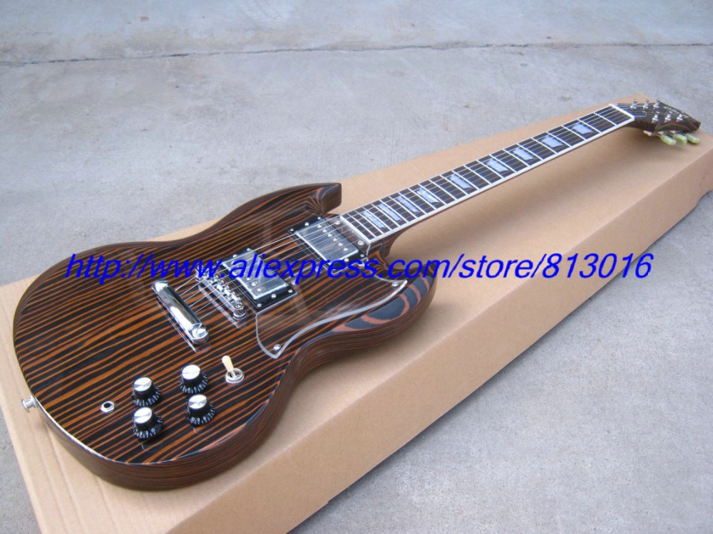 SG electric guitar musical instrument natural color high glossy  zebra wood neck and body ! tsai hot sale vintage set of single coil pickup neck middle bridge for electric guitar musical instrument accessories as gifts