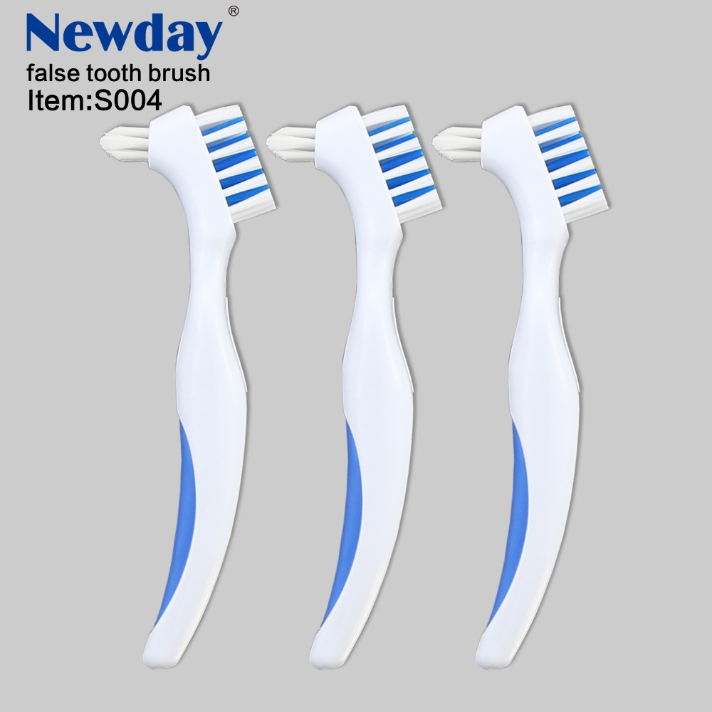 1PC New Y-Shape Toothbrush Dedicated Denture Double Brush Teeth Oral Care Blue Adult Toothbrush image