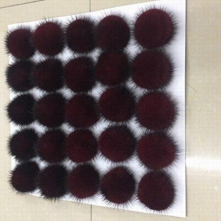 25ピース/ロット5センチナチュラルリアルミンクの毛皮ハンギングデコレーションボールポンポンpomsふわふわ毛皮ポンポンdiy女性子供冬帽子skulliesビーニーニットキャップr21