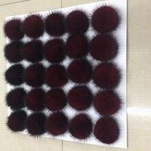 25 unids/lote 5cm Bola de piel auténtica de visón pompones de piel esponjosa pompón DIY mujeres niños gorro de invierno Skullies gorro tejido R21