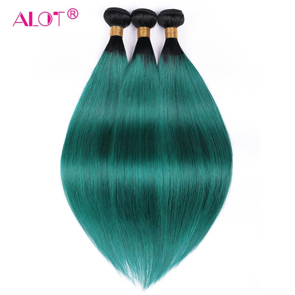 ALOT Pre-Colored 1B Green 2 Tone Brazilian Straight Ombre Human Hair Bundles 3 Bundles Deal Non Remy Hair Weave Free Shipping
