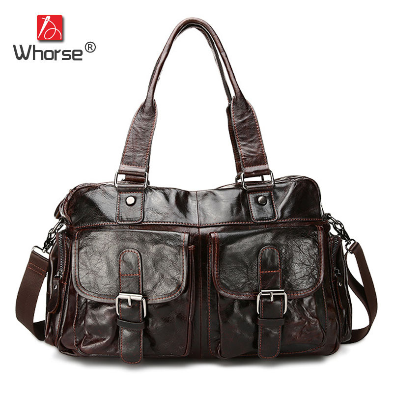 [WHORSE] Genuine Leather Brand Men Handbag Business Briefcases Cowhide Messenger Bags Shoulder Handbags Men's Travel Bag WA0610 ograff bag men genuine leather men messenger bags handbags famous brand designer briefcases leather crossbody bags men handbag