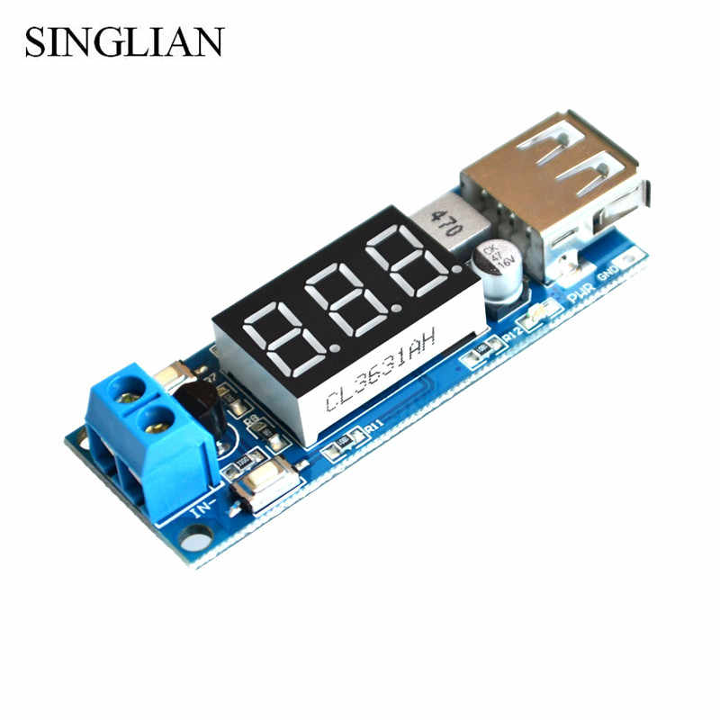 5pcs/lot DCDC buck power module two-wire on-board battery voltmeter + 5.0V USB charging two-in-one mobile phone
