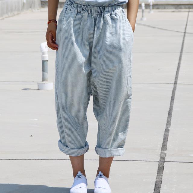 Mujeres Rayas Más Tamaño pantalones Anchos de La Pierna Pantorrilla Damas Pantalones Sueltos de Cintura Elástica Pantalones Femeninos Pantalones de Gran Tamaño 2016 Otoño