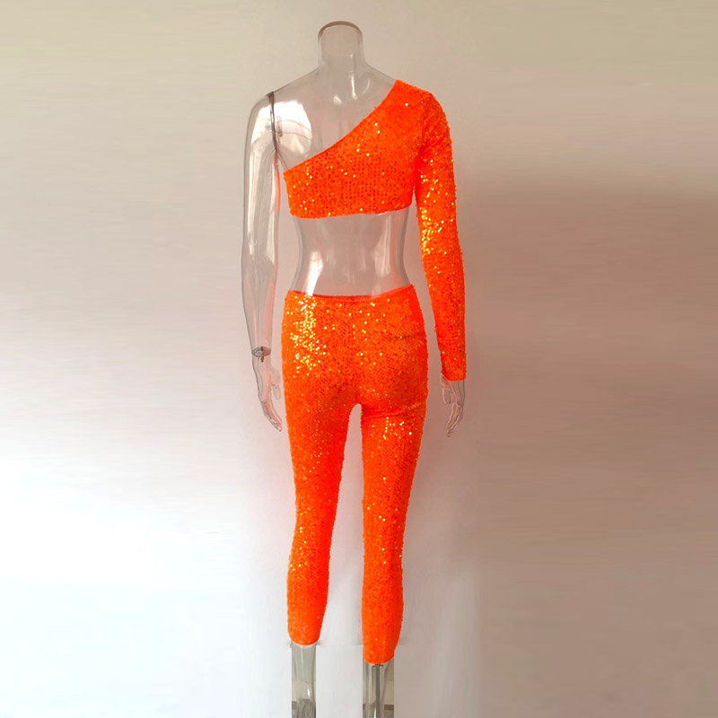 KGFIGU two piece set top and calf length pants neon orange one shoulder sequined 2 piece set tracksuit women sexy tweed set