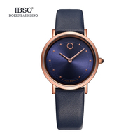 IBSO Top Brand 7.6MM Ultra Thin Women Watches 2017 Genuine Leather Strap Montre Femme Fashion Waterproof Quartz Watch Women