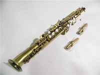 Bb Curved Soprano Saxophone Antique Finish Hand engraving With Case Musical instruments professional
