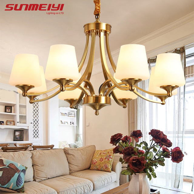 American Retro Copper Led Chandeliers Lighting Dining Room Led Pendant  Chandelier Lights Foyer Hanging Light Fixtures