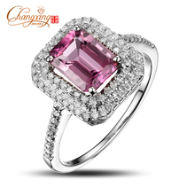 Wholesale Jewelry 14k Gold Natural 2.02ct Pink Tourmaline Full Cut Diamond Engagement Ring