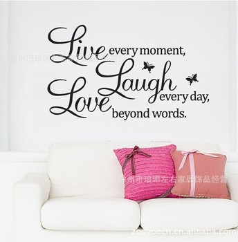 Beautiful Love laugh live quotes Butterfly wall decal-Free Shipping Wall Stickers With Quotes