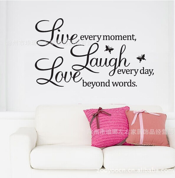 Love Laugh Live Quotes Butterfly Wall Decal Warm Home Wall - Butterfly wall decals 3daliexpresscombuy d butterfly wall decor wall sticker