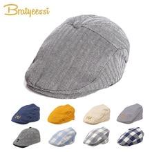 Sombrero de bebé a la moda bonito gorro Niño de lino de algodón boina elástico niños sombrero bebé accesorios para 1-2 años 3 colores