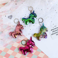 Cute Unicorn Glitter Sequins Keychain for Women Sweet Pineapple Cactus Angel Heart Pendant Key Ring Handbag Car Key Accessroies(China)