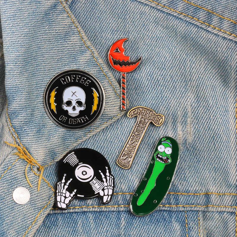Готический стиль Броши молоток с черепом DJ Чили эмаль шпильки Панк-куртки нагрудные булавки сумка рубашка значки на пуговицах для женщин мужчин и детей Подарки