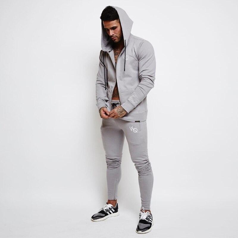 Brand Men High Quality HOODIES+PANTS Set Sweatshirts Male Hooded Long Sleeve jacket Sweatshirt Slim Bodybuilding Hooded Jackets