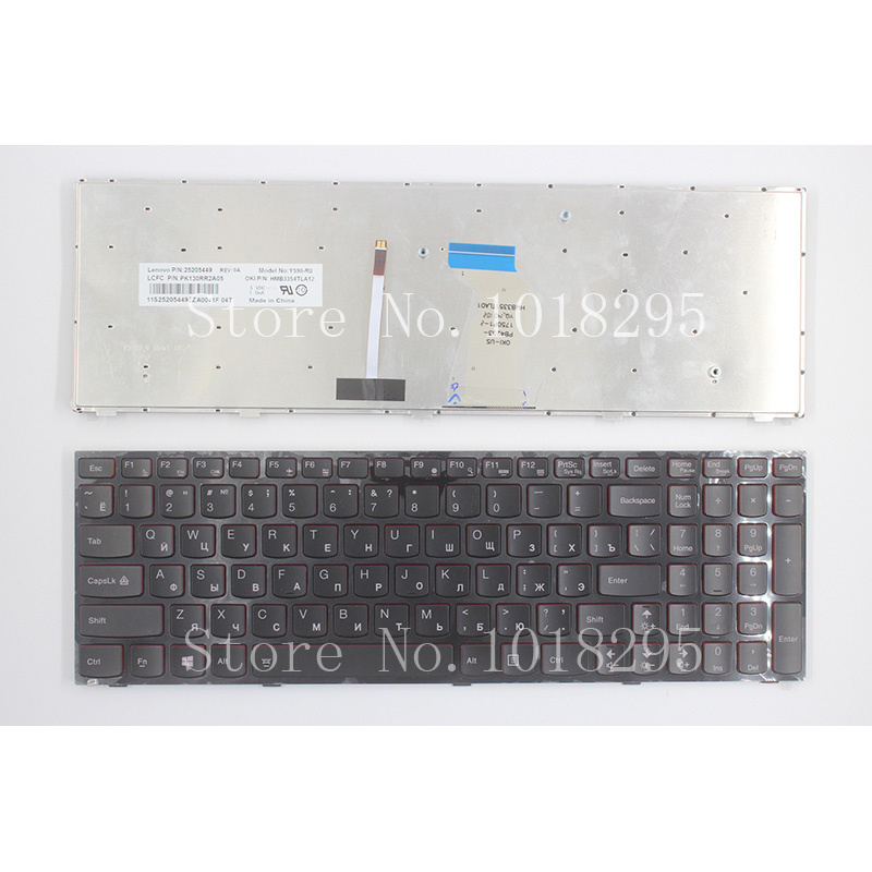 NEW Russian Laptop Keyboard For Lenovo Y590 Y500 Y510P RU Laptop Keyboard With Frame Blacklight new and original black ru laptop keyboard with frame for metabox p170sm ru layout