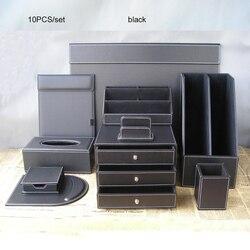 10 unids/set de cuero de negocios de almacenamiento de escritorio organizador conjunto de gabinete de archivo de soporte y caja de la pluma de A4 Conferencia carpeta caso K253