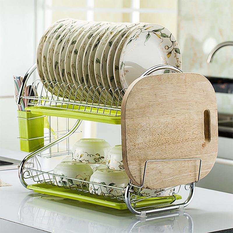 Aço inoxidável escorredor de pratos de drenagem rack de cozinha suprimentos para secar pratos pratos prateleiras racks de armazenamento de pratos da cozinha utensílios de mesa