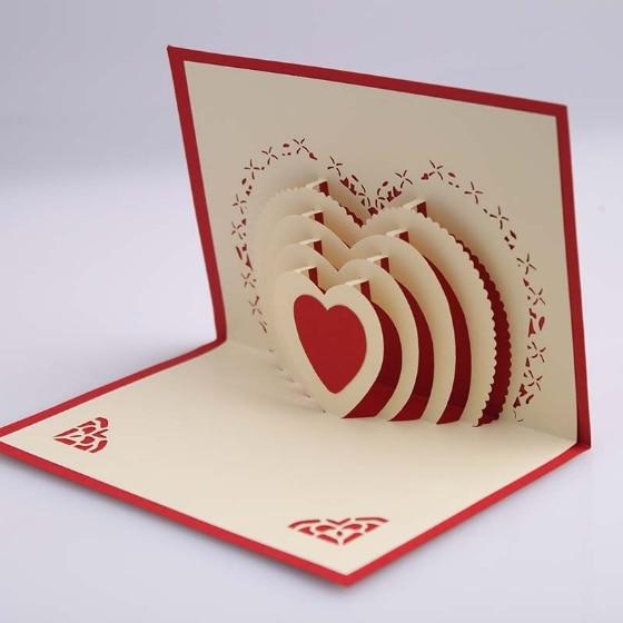 5pcs lot 3d pop up card diy drawing love heart design for Christmas card 3d designs