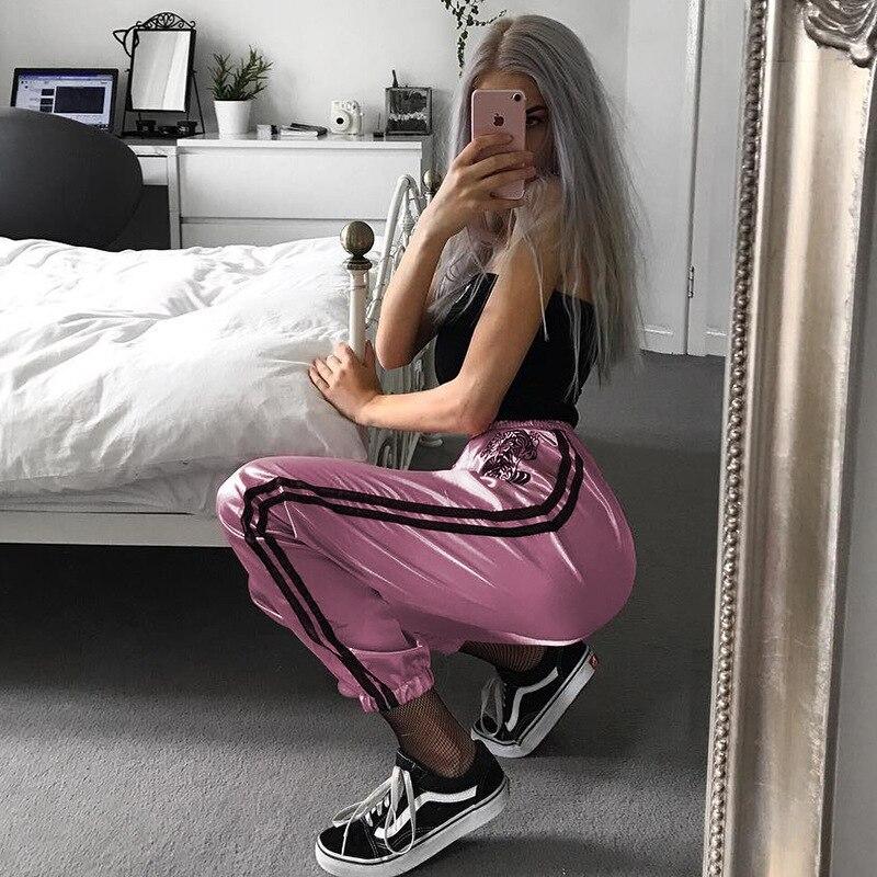 blanco Bordado 2018 Mujer Pantalones Nueva Casuales Rosado Satén H0tWZW4P7q