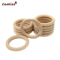 68mm 2 67 Nature Wooden Ring Teether Montessori Baby Toy Organic Infant Teething Toy Accessories Necklace