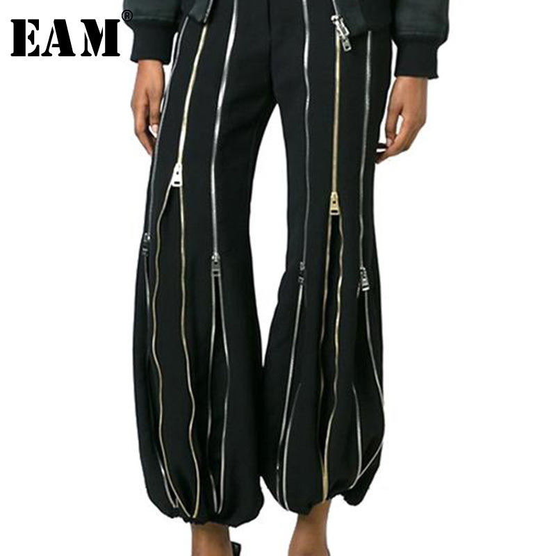 [EAM] 2019 Autumn Winter Woman Personality Stylish New Black Color Spliced Many Zippers High Waist Pleated Flare Pants LE782-in Pants & Capris from Women's Clothing    1