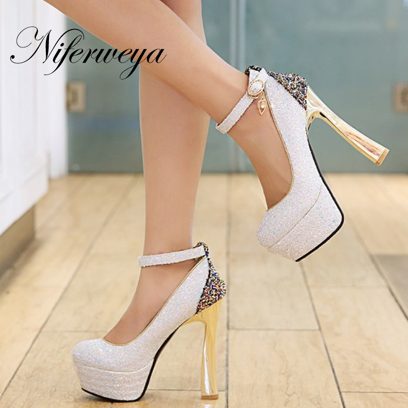 Sexy 14cm spring/autumn pink women pumps size 32-44 Round Toe Buckle Strap Sequins platform high heel shoes zapatos mujer new spring autumn ankle strap women shoes big size 32 46 fashion pointed toe buckle strap thick heel high heels zapatos mujer