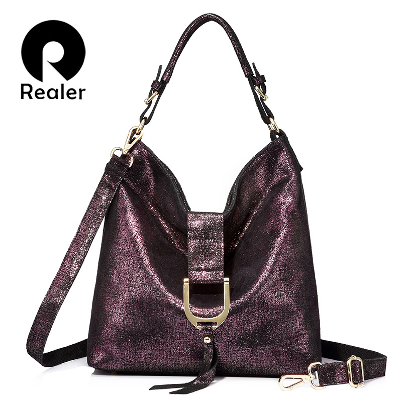 Realer brand women handbags genuine leather shoulder bags large capacity ladies casual fringed tote bag Zipper messenger bag [whorse] brand high quality women genuine leather shoulder bags cowhide ladies casual tote bag large capacity wa5054 7