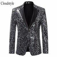 Cloudstyle New Arrival 2018 Male Sequins Suit Jacket Men Hip Hop Style Party Blazer Two Button Design Blazer Men Plus Size 5XL