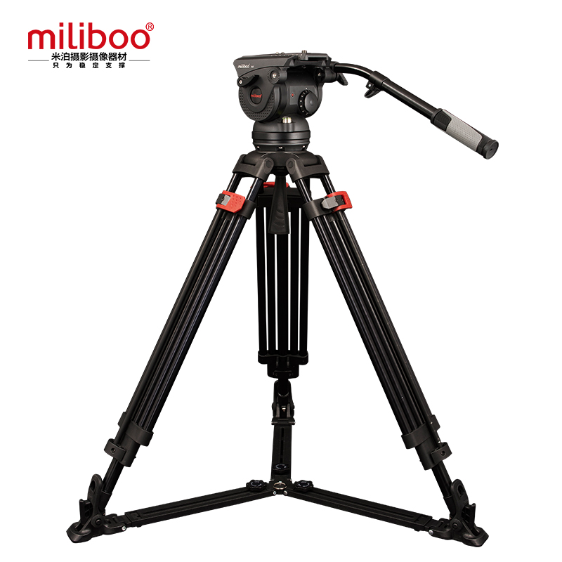 miliboo Professional Broadcast Movie Tripod M8DL with Fluid Head and One-Lock Two Design Load 18 kg for Camcorder 360 Degree