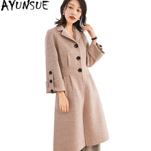 AYUNSUE 2019 Korean Style Pure Wool Coat Female Spring Autumn Women's Jackets Long Wool Coats Winter Women Overcoat 38017 YQ1624(China)