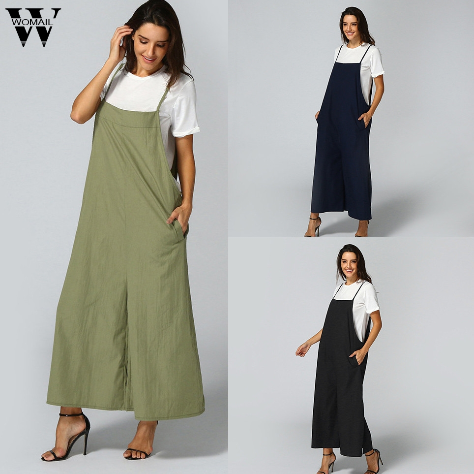 Womail bodysuit Women Summer Sleeveless Long Jumpsuits Overalls Linen plus size Bib Dungaree Trousers Loose 2019 dropship f28