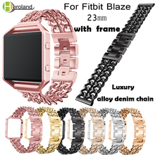 Alloy denim chain Watch Bands Strap For Fitbit Blaze Smart Watch Band Bracelet Wristband With Stainless Steel Metal Frame Case watchbands stainless steel strap bands bracelet black silver gold with tool for fitbit alta blaze tracker smart wristband