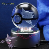 Beautiful Transparent Clear Crystal Glass ball with 3D laser Pokemon Haunter with LED base for Christmas Gifts