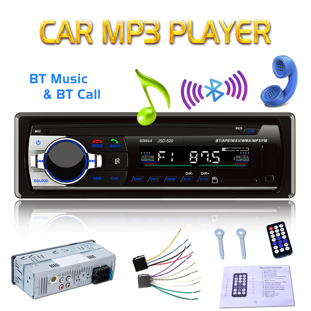 Wholesale 12V Car Radio Bluetooth 1 Din Car Stereo Player ISO AUX-IN MP3 FM/USB/SD Remote Control For Phone Car Audio 1 din car radio mp3 audio player bluetooth hands free fm stereo supports car holder usb2 0 sd aux audio playback usb charger 12v