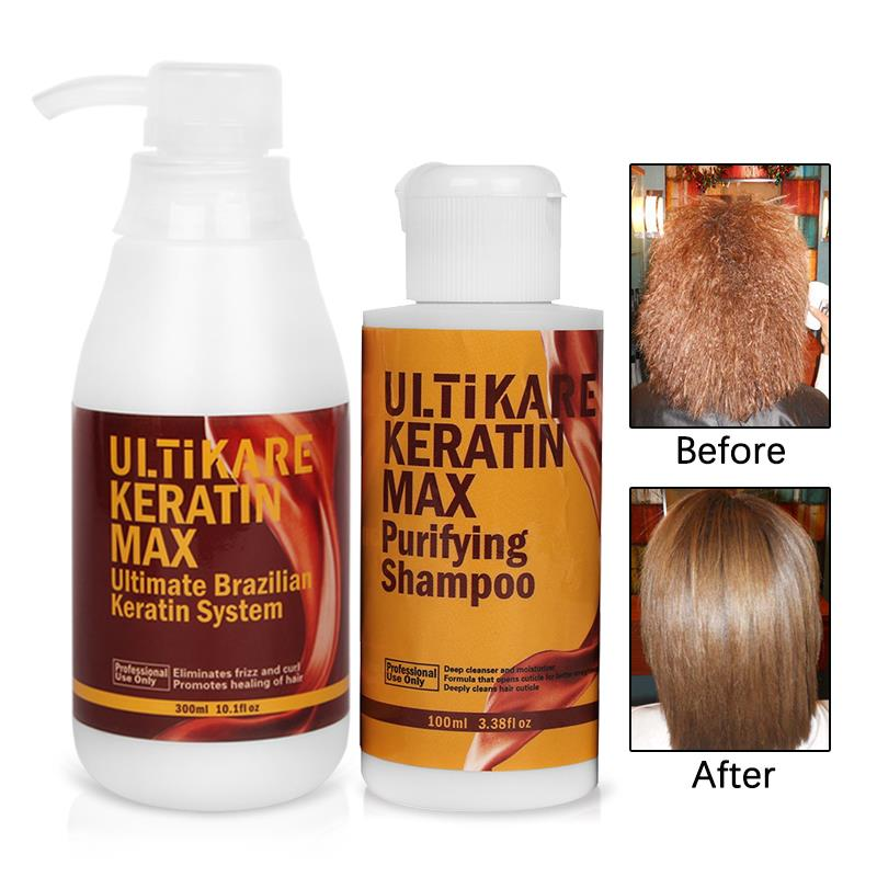 Купить с кэшбэком Hair Care Products 300ml Keratin Treatment 100ml Purifying Shampoo Straighten Smoothing Shinning Cruly Hair Get Free Hair Gifts