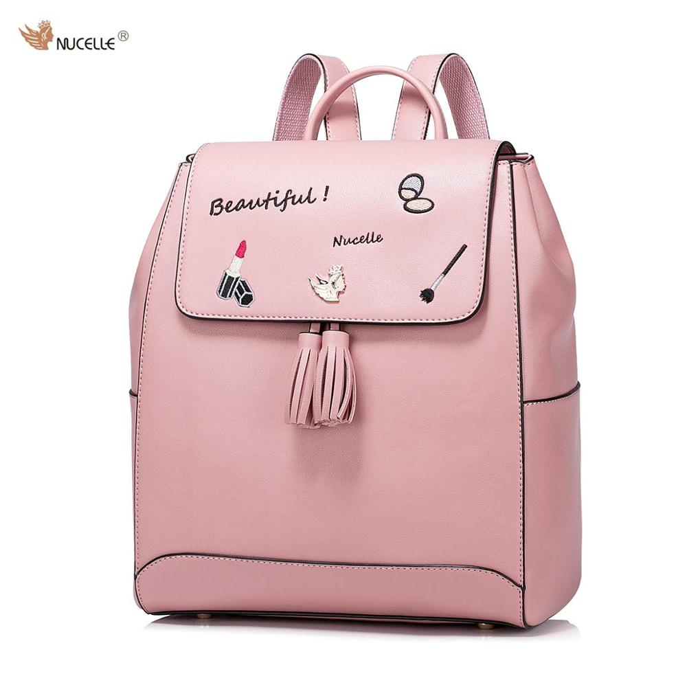 Women's Fashion Embroidery Tassels PU Leather Casual Ladies Girls Student PINK Backpacks Daypacks Shoulders Travel School Bag brand design cartoon embroidery casual pu women leather girls ladies backpack shoulders travel school bags student daypack