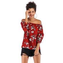 2019 Spring Autumn New Slash Neck Tube Top Shirt Female Loose Sexy Strapless Print Chiffon Women Fashion