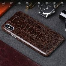 51aabd0e521 Para iPhone X caso realmente avestruz pie piel Ultra slim para iPhone 6 6 S  7 7 8 Plus 5 5S SE los casos