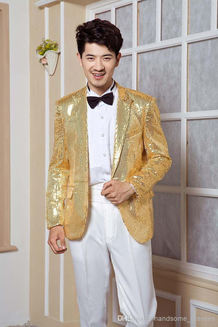 2015 2015 new fashion Korean men's Gold sequined suit Slim small ...