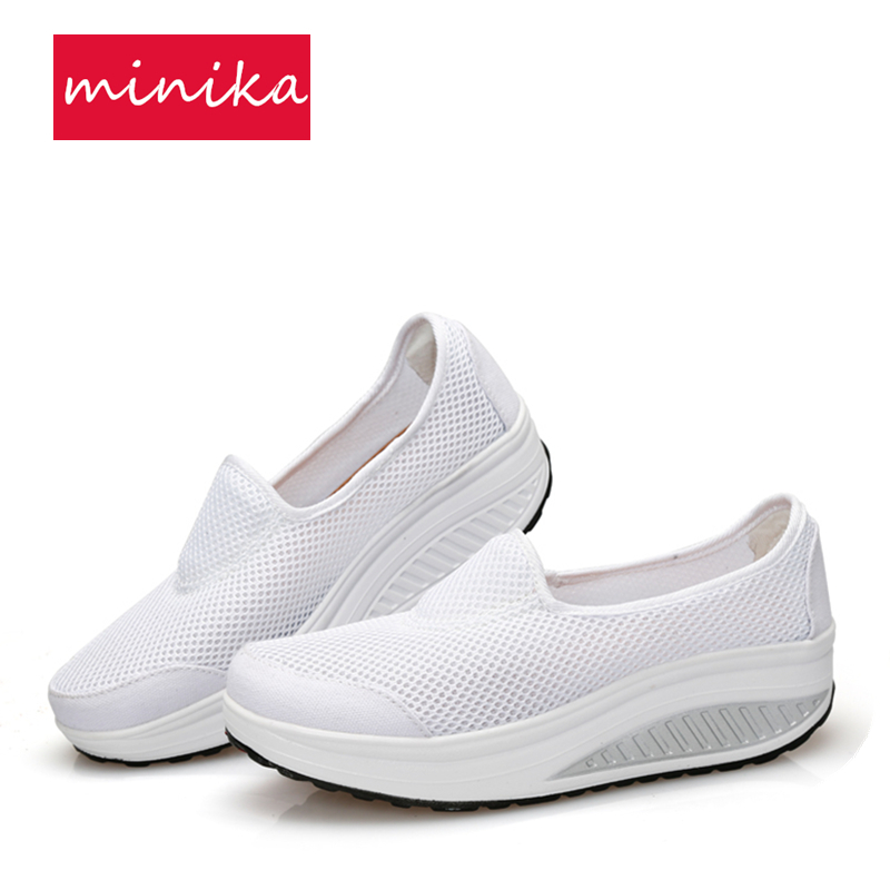 Mesh Breathable Women Toning Shoes Height Increasing Platform Traveling Swing Shoes Comfortable Pregnant Mother Sneakers