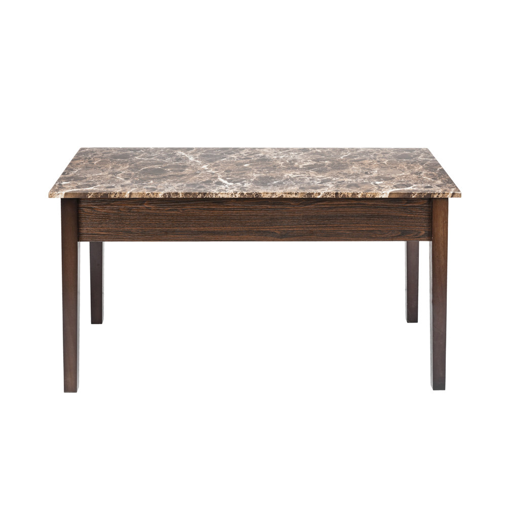 Lift Top Coffee Table Faux Marble With Storage Space Shelf