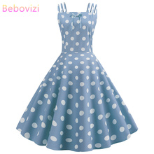 Bebovizi 2019 Summer New Fashion Women Casual Office Elegant Sexy Vintage Dresses Light Blue A-Line Plus Size Dots Print Dress