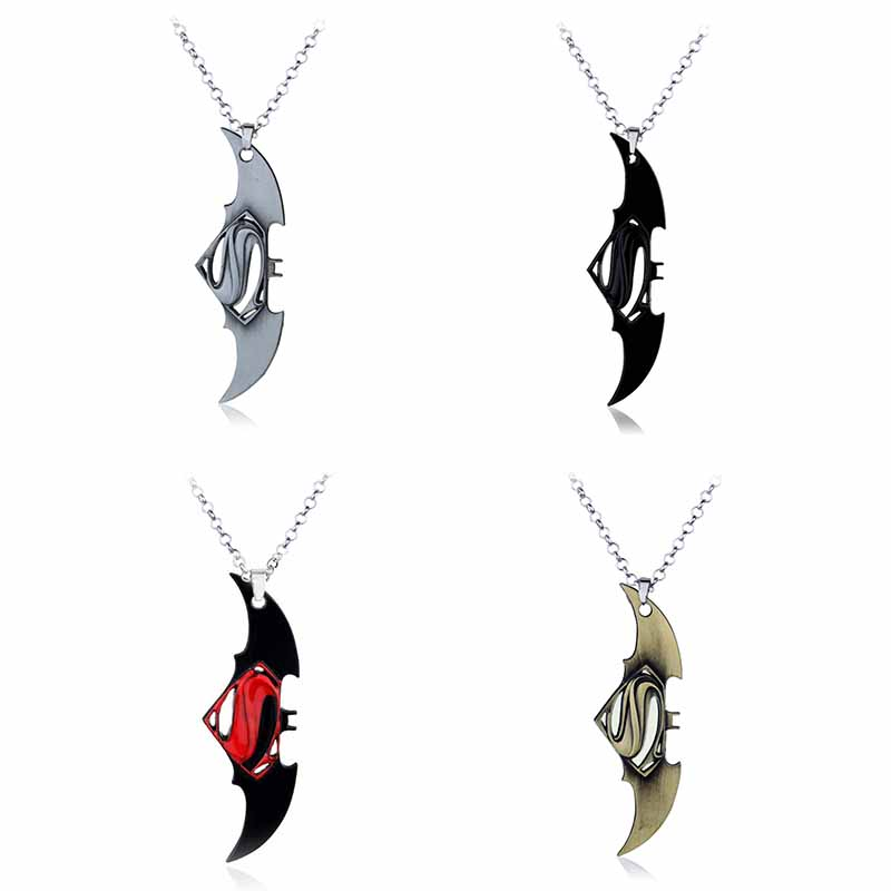 DC Superhero Marvel fashion Jewelry Collection Superman Batman Metal Pendant Necklace 3 Colors