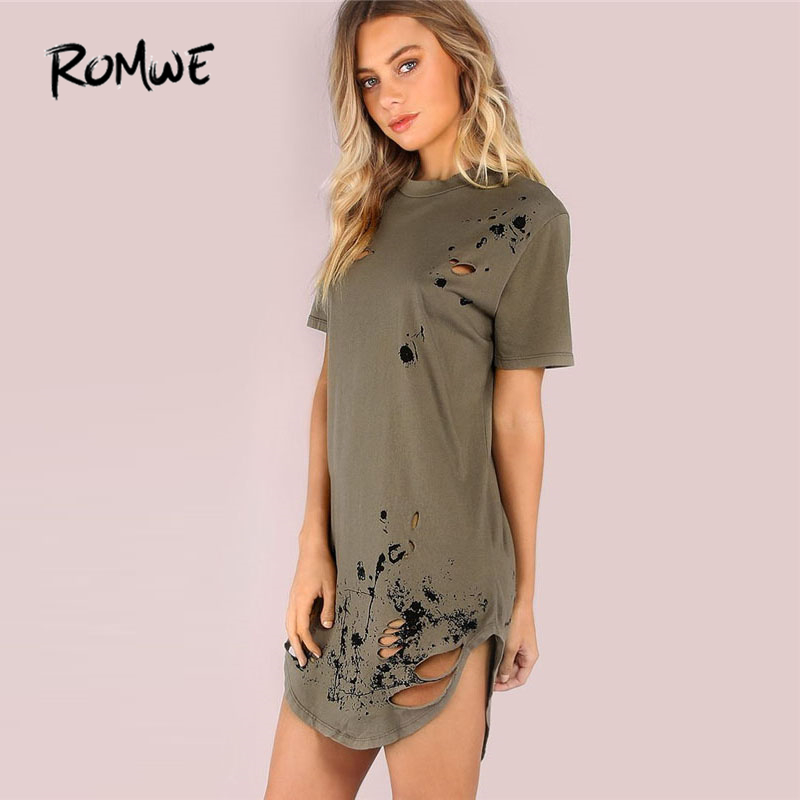 ROMWE Distressed Grungy Splatter Curved Tee Dress 2018 Ripped Army Green Shift Round Neck Dress Short Sleeve Short Dress