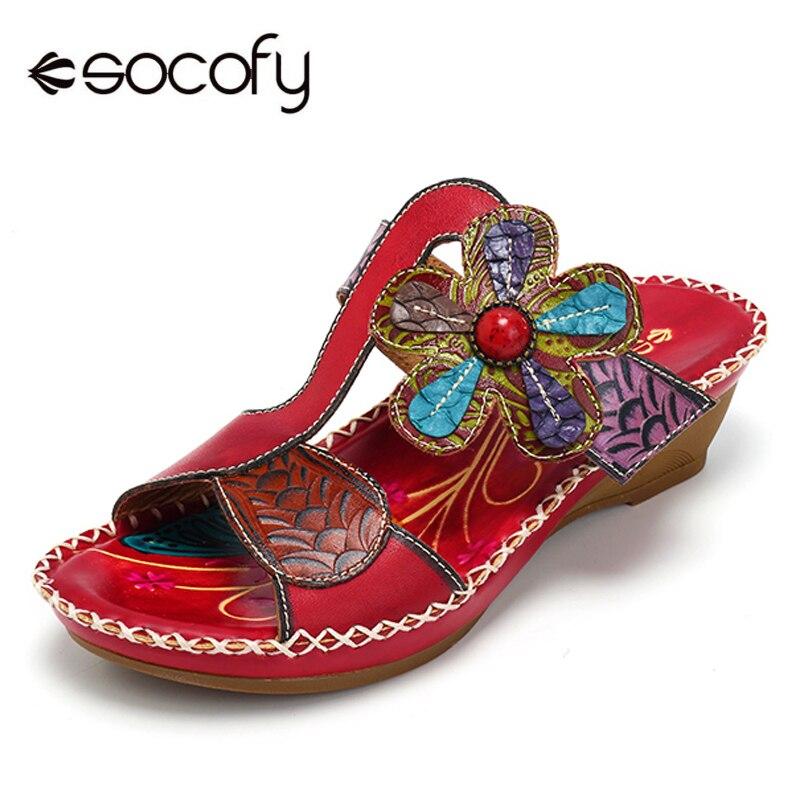 Socofy en cuir véritable bohème luxe pantoufles femmes chaussures Vintage à la main fleur été plage pantoufles diapositives talons compensés nouveau