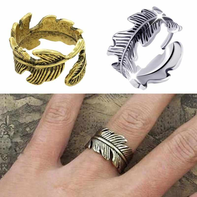 LNRRABC Simple Punk Retro Feather Leaf Ring for women Men  Antique cheap/alloy Vintage Leaves Party Finger Opening Ring